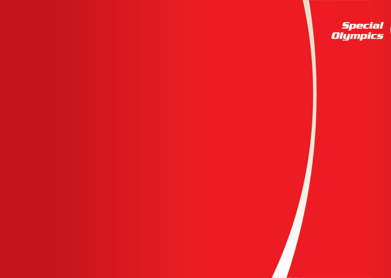 Special Olympics Background red with white stripe and Special Olympics logo.