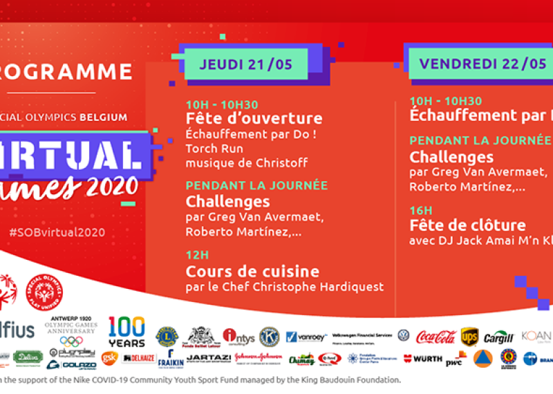 Special Olympics Belgium Virtual Games 2020 programme.