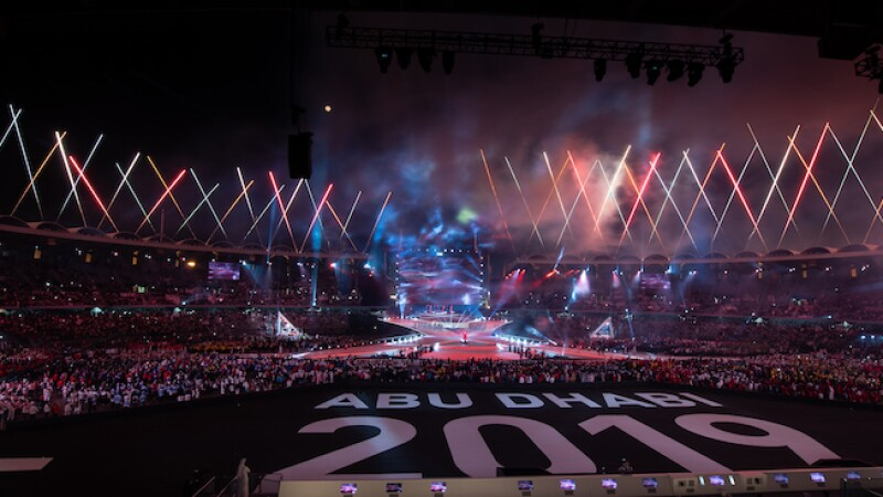 Stadium view from Abu Dhabi 2019 world games closing ceremony
