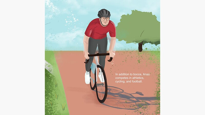 Anas' story slide 1: Anas Khalil Al Zorba Special Olympics Palestine. Illustration of Alas riding a bicycle on a dirt path with a tree in the background.