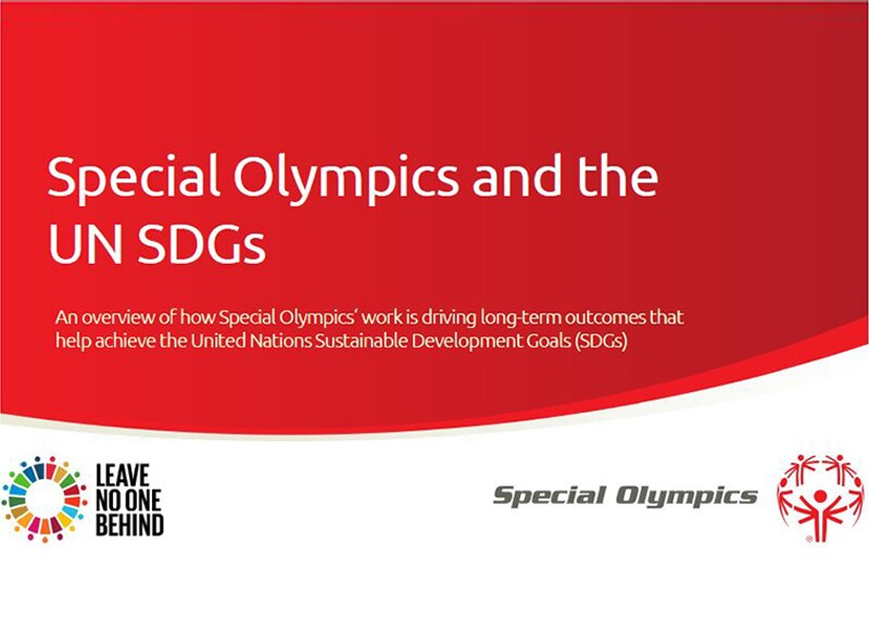 Image of the Special Olympics and the UN SDGs document.