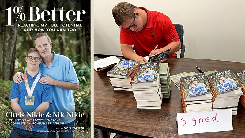 Book cover on the left and Chris signing books on the right.