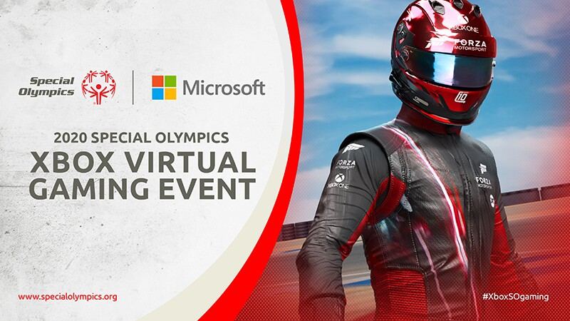 On the left text that reads: Special Olympics | Microsoft: 2020 Special Olympics XBox Virtual Gaming Event. On the right an image of an athlete in a full competitive suite and helmet.