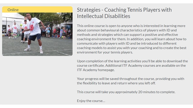 Screen shot of the course: Strategies - Coaching Tennis Players with Intellectual Disabilities.