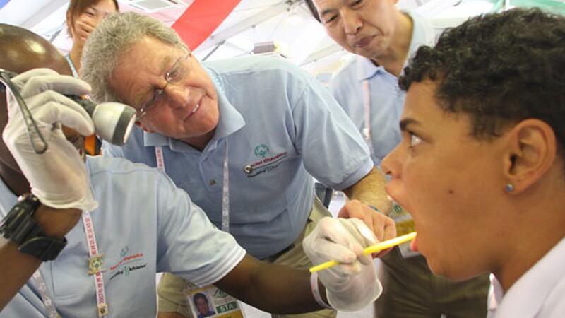 Athlete receive an oral examination.