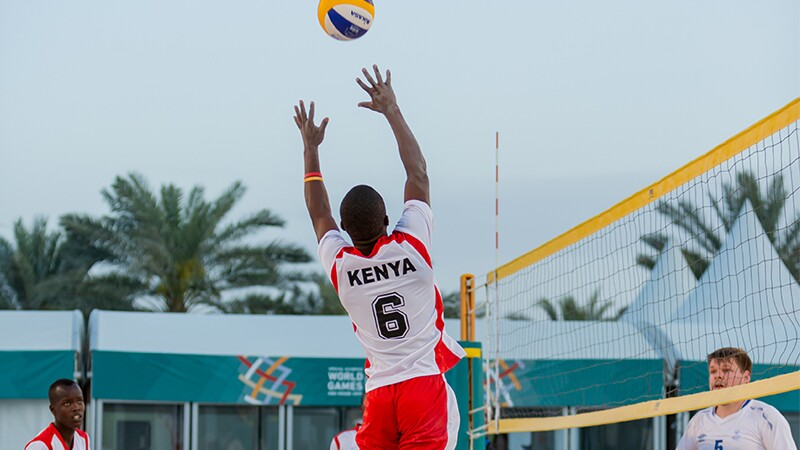 World Games Abu Dhabi 2019: athletes playing volleyball on the beach.