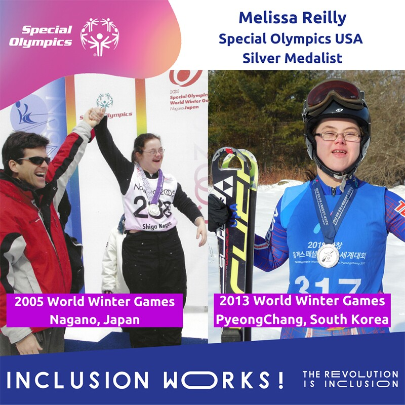 Image of Melissa on the left with her hand being held up in victory. image of Melissa on the right of Melissa with a silver medal and holding her snowboard.