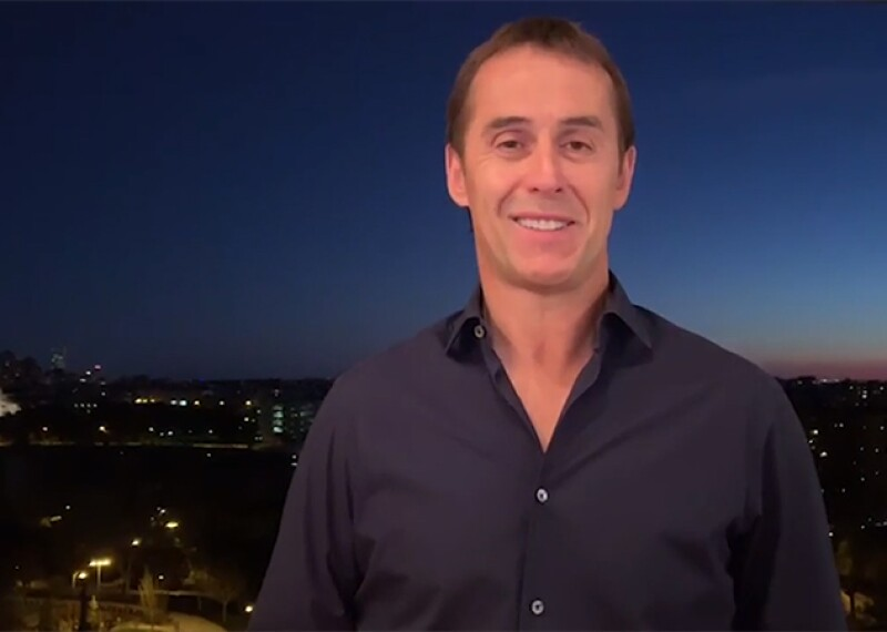 Julen Lopetegui smiling during an interview.