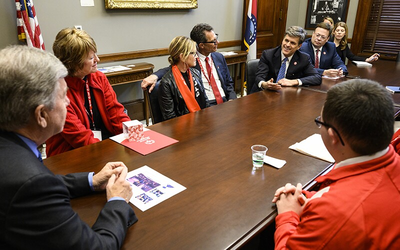 Special Olympics Chairman Tim Shriver and other delegates meet with Senator Roy Blunt (R-MO) during 2020 Capitol Hill Day.