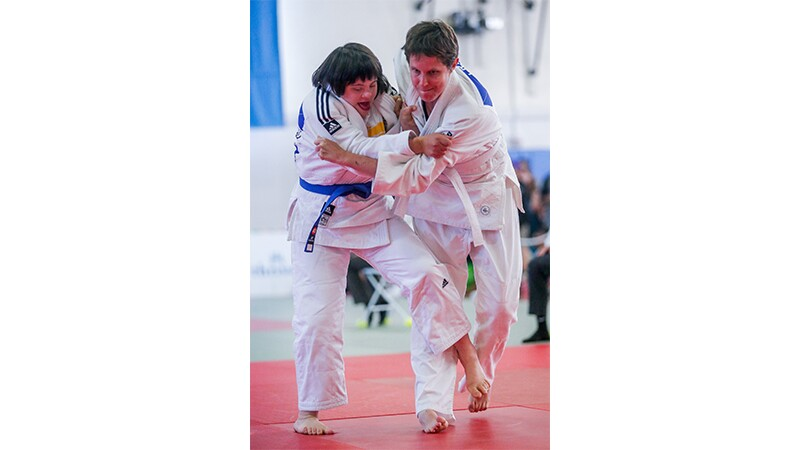 Two athletes performing in a judo match at Special Olympics World Summer Games Los Angeles 2015
