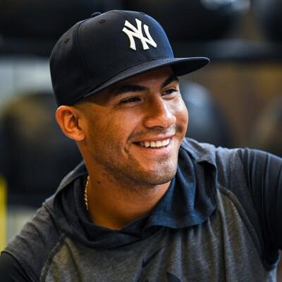 Gleyber Torres in his black New York Yankees hat