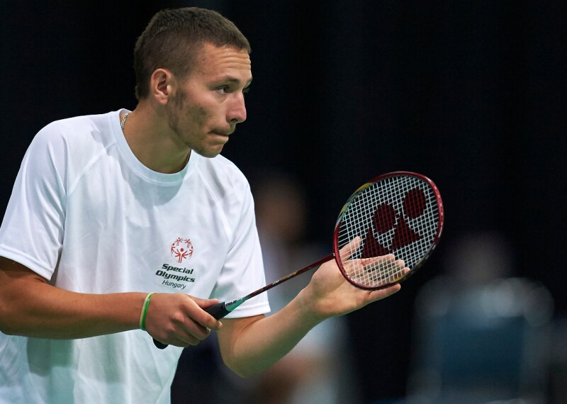 Special Olympics Hungary athlete Gergo Karoly plays badminton at the Special Olympics World Games Los Angeles 2015.