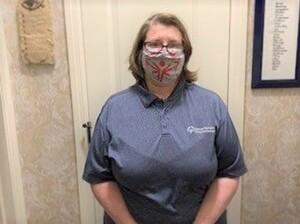 Kayte Barton in a mask.