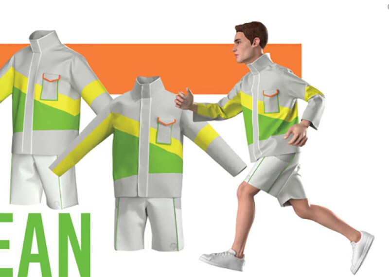 Renderings of jacket and shorts uniform for a male athlete named Sean.