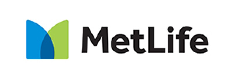 """MetLife in black type on white background with a blue and green abstracted """"M"""" on the left side of the word """"MetLife"""""""