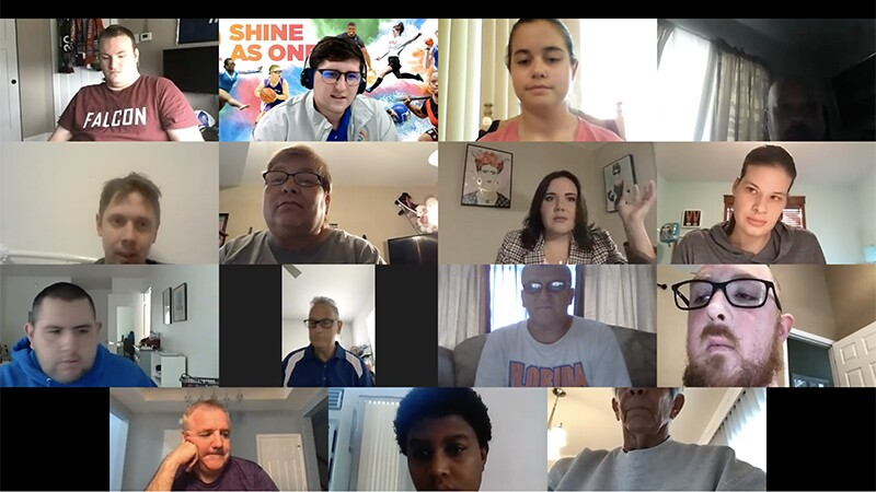 Special Olympics athletes appear on a Zoom call to plan the 2022 USA Games.