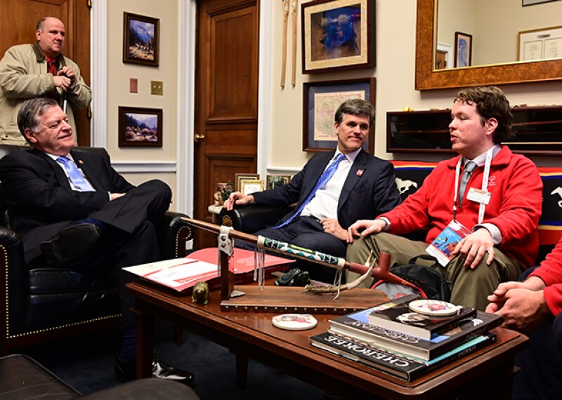 Benjamin Collins, Tim Shriver, William Veytovich (Special Olympics Oklahoma athlete), John Seals (Special Olympics Oklahoma staff), Tom Cole (Oklahoma (R) Congressional Representative) talking about the 2019 appropriations bill Special Olympics in Congressmen Cole's office.