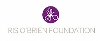 Iris O'Brien Foundation logo - Purple iris illustration and gray type: Iris O'Brien Foundation, on a white background.