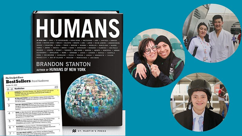 Humans bookcover and listing on The New York Times Best Sellers list and image of three athletes on the right.