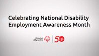 Text reads: Celebrating National Disability Employment Awareness Month; followed by the Special Olympics 50th anniversary logo.