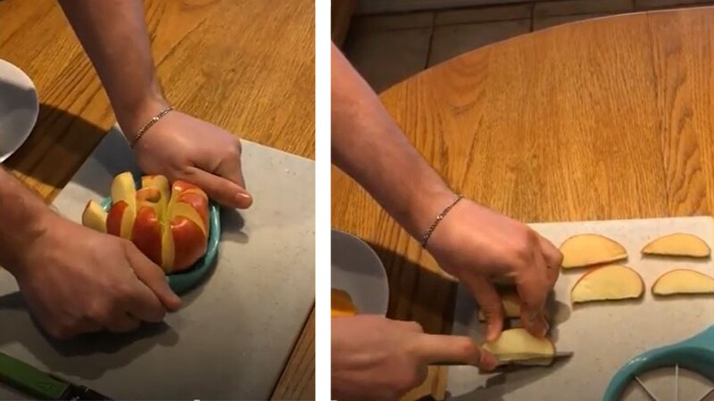 Cutting an apple into wedges.