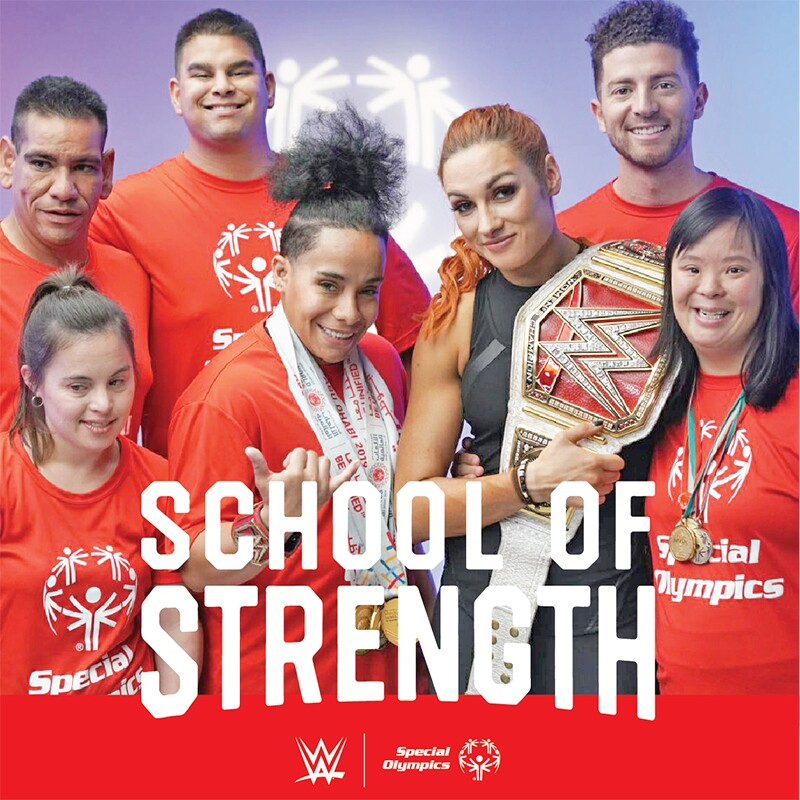 School of Strength Special Olympics athletes and WWE athletes.