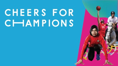 Blue and Pink background with athletes in action poses. Text reads: Cheers for Champions.
