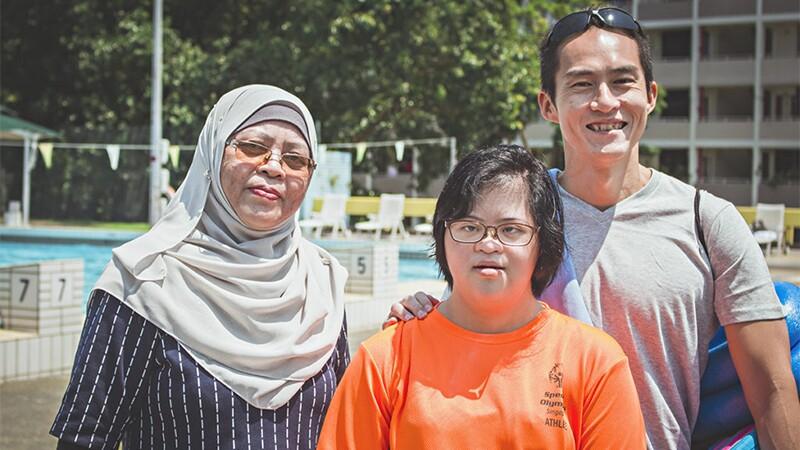Ratna Mohd Zain, her daughter Nadhrah and Coach JC.