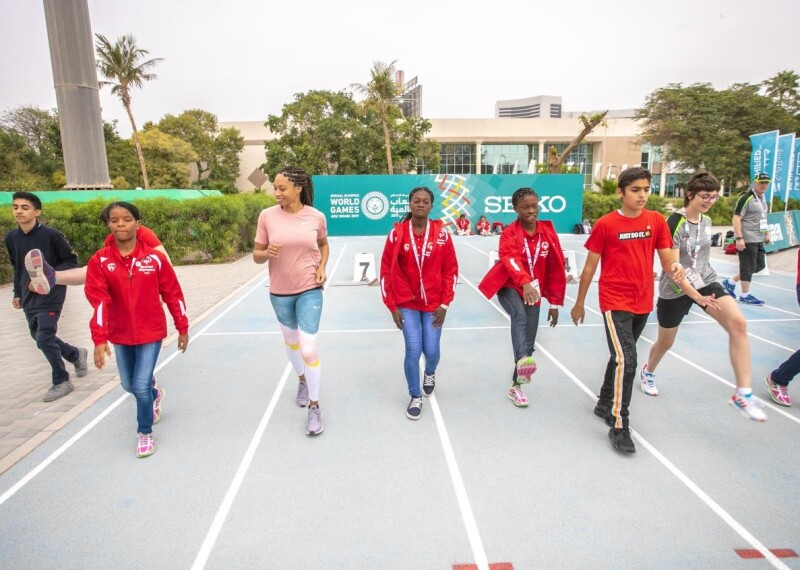 Allyson Felix with 2019 World Games athletes in Dubai, UAE