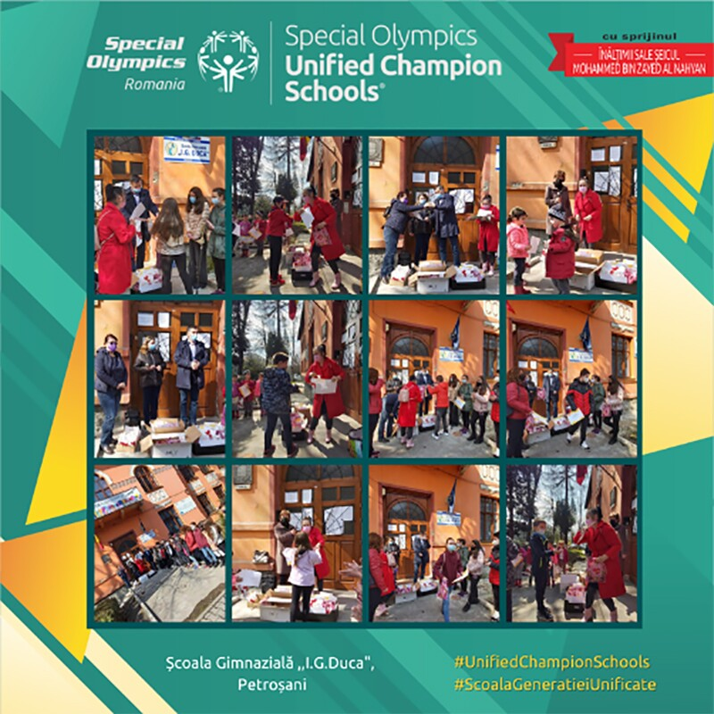 A teal and gold graphic from social media with the Global Center for Inclusion in Education branding. Within the graphic is a collage of photos of students, in Special Olympics jerseys, standing outside at an outdoor winter event.