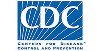 CDC logo, blue background and white lettering, C.D.C.