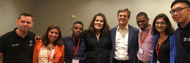 Tim Shriver with athlete leaders in a group photo.