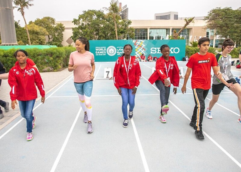 A group of Special Olympic athletes had a day to remember as they trained alongside multiple Olympic gold medalist Allyson Felix in a Unified Sprint Clinic at Dubai Police Academy Stadium, today (17 March).