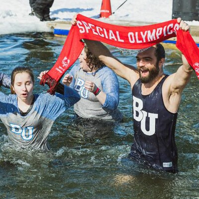 Athletes and volunteers at a Polar Plunge event.