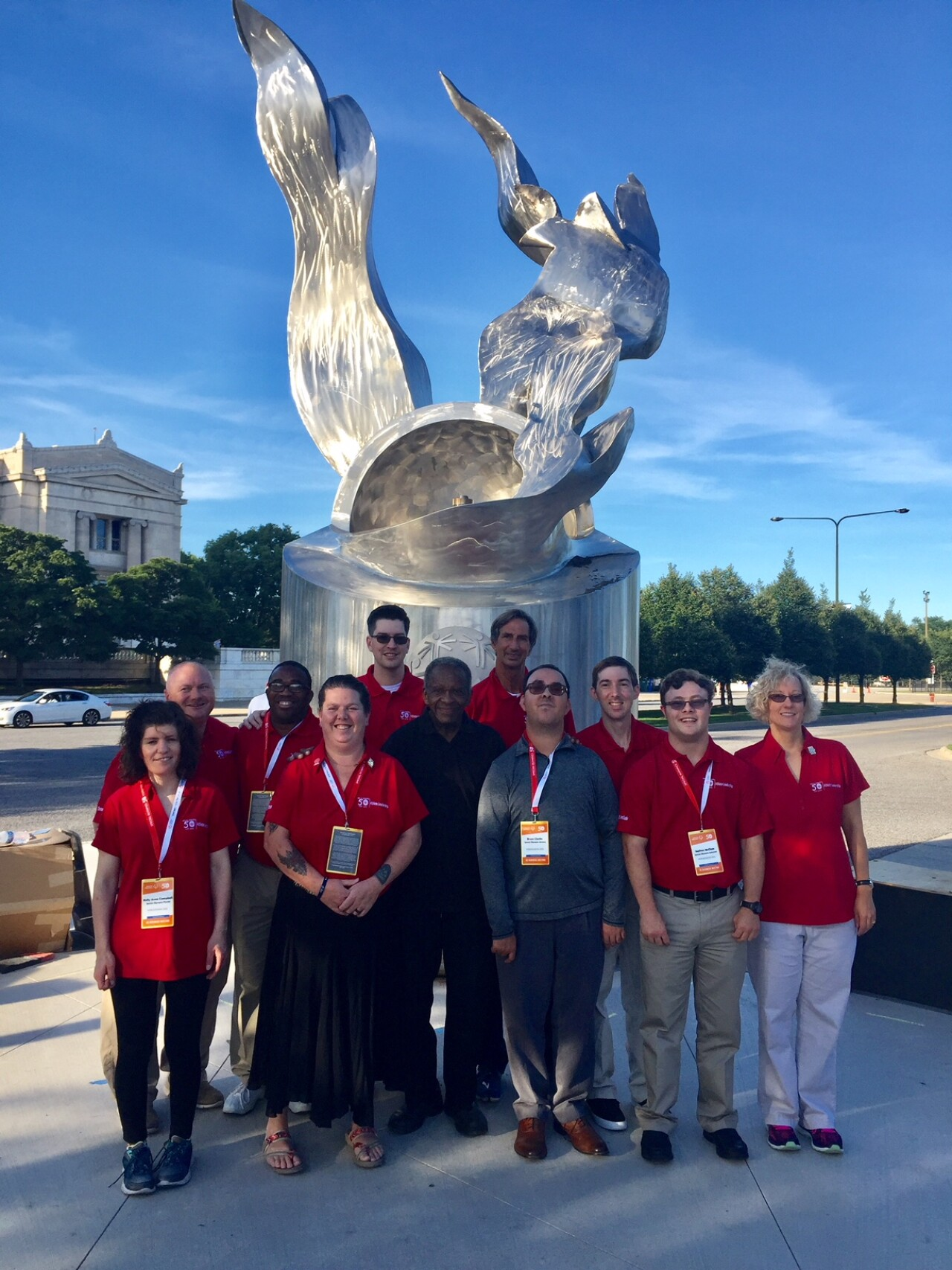SONA (group in front of eternal flame): The United States Athlete Input Council met in Chicago for their annual meeting and had the pleasure of visiting the Eternal Flame site for the Special Olympics 50th Anniversary celebration.