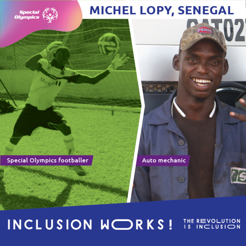 Michel playing football on the right and in his mechanics shirt on the left.