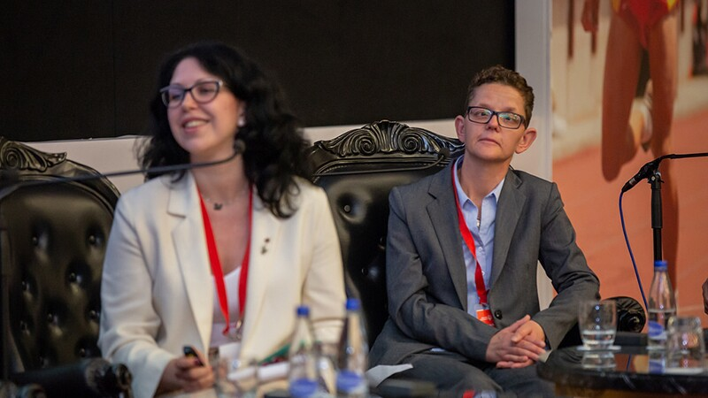 Ulyana Lepekha, mentor with Special Olympics Russia, and athlete leader, Halina Andrzeja of Special Olympics Poland speaking on a panel at the Leadership Conference 2018.