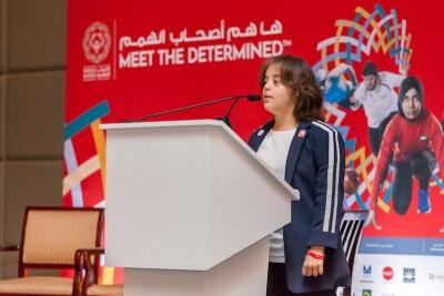 Chaica Al Qassimi giving a speech at the World Games in Abu Dhabi