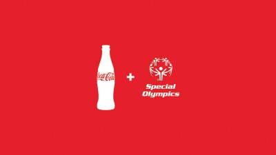 Coca-Cola and Special Olympics logos together in white on a red background.