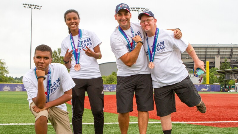Special Olympics Texas athletes celebrating at 2018 USA Games