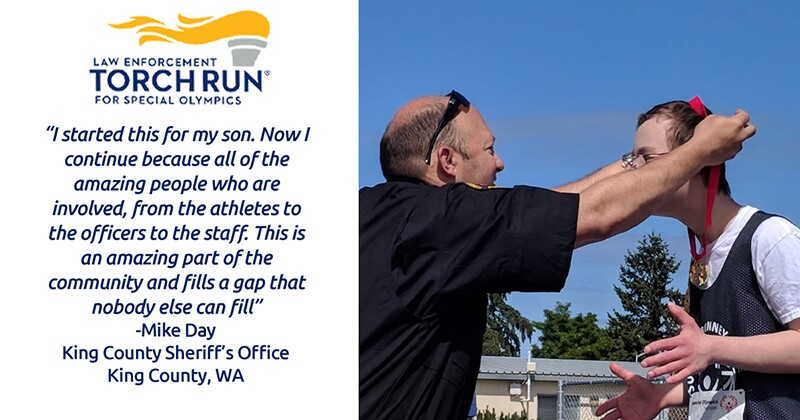 Quote on the right with an image on the left of a uniformed officer putting a gold medal around an athletes neck.