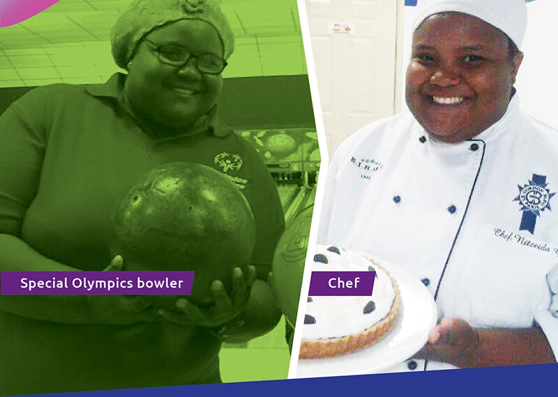nitzeida bowling and dressed in her chefs uniform.