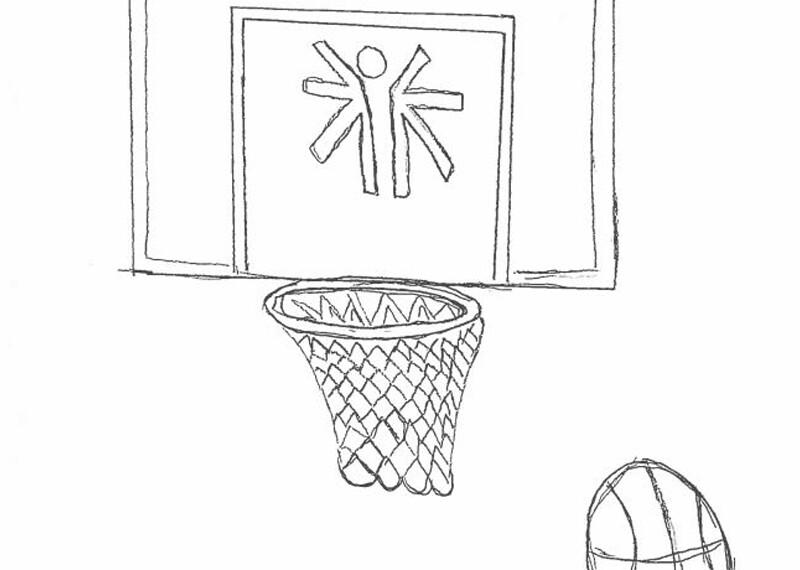 Illustration of a basketball and a basketball hoop