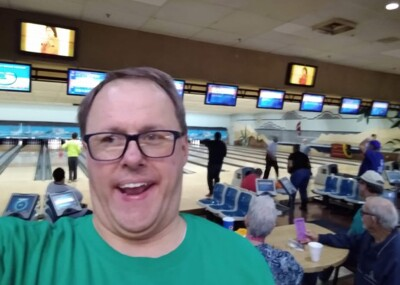 Kyle at a bowling alley.