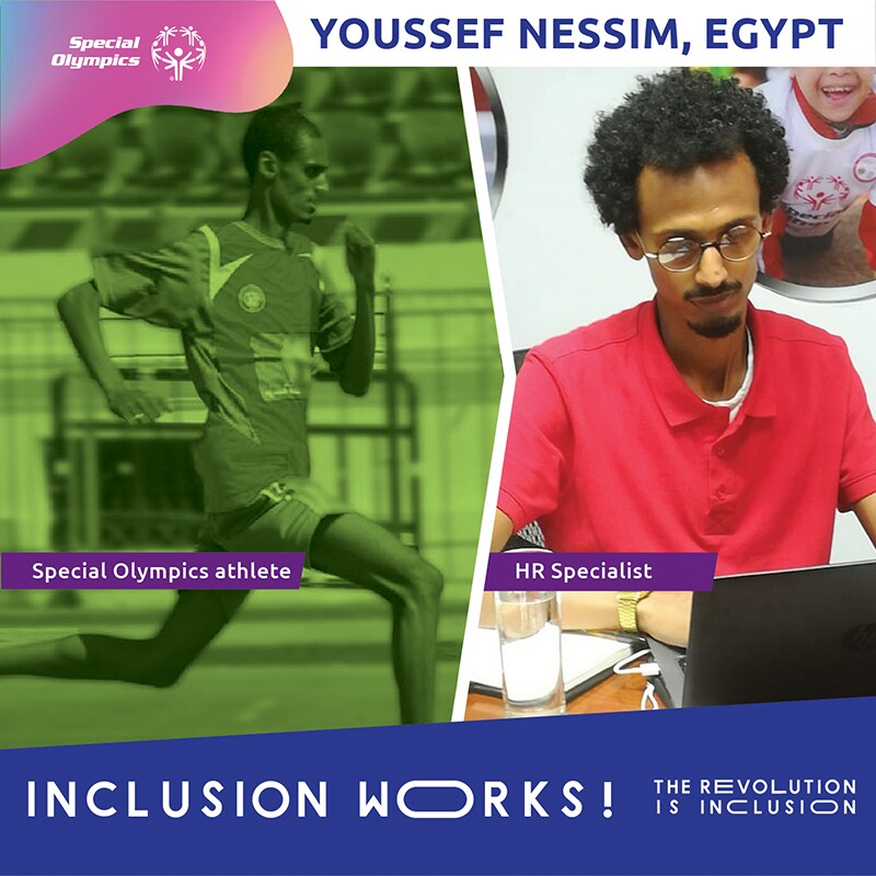 Two image of Yossef: on the left he is running on the right he is sitting behind a computer.