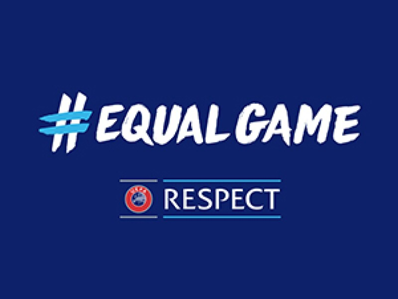 #EqualGame Respect logo in white type on a blue background