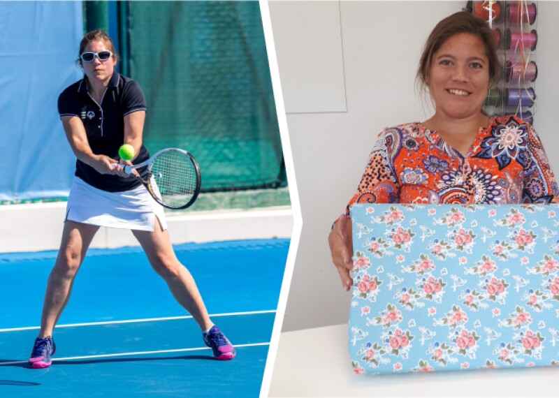 First photo: A woman in a colourful top smiles at the camera and holds up a parcel wrapped in blue paper with flowers. There are spools of ribbon and wrapping paper in the background. Second photo: A woman wearing sunglasses, a t-shirt and a skirt swings her tennis racket towards a tennis ball. She is standing on a blue tennis court.