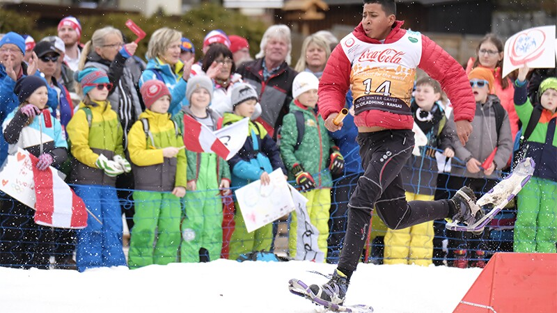 Kenneth Ramirez of Costa Rica races in the snowshoeing competition at his first Special Olympics World Winter Games.