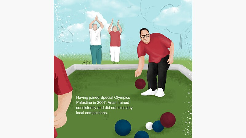 Anas' story slide 1: Anas Khalil Al Zorba Special Olympics Palestine. Illustration of Alas playing bocce with people cheering for him in the background.