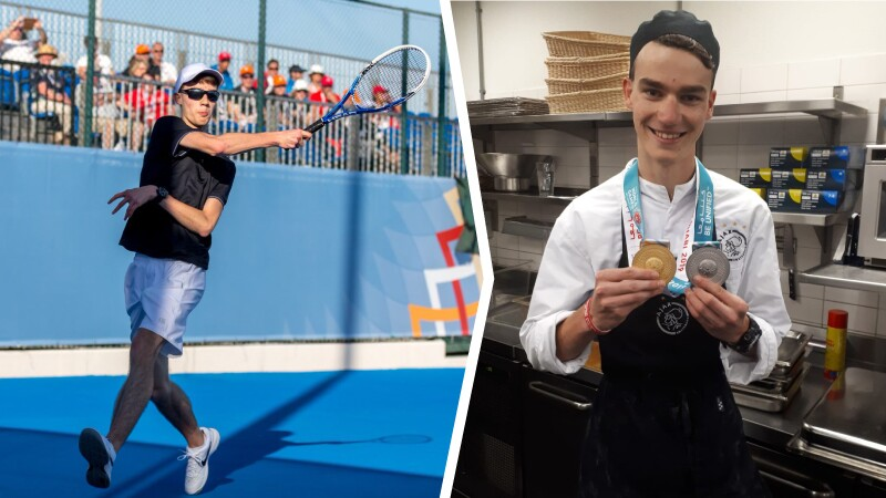 Photo 1: A man standing in a kitchen wearing an apron and medals around his neck smiles at the camera. Photo 2: A man wearing sunglasses, a baseball cap, t-shirt and shorts swings his tennis racket with a crowd of spectators in the  background.